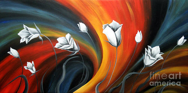 Floral Canvas Paintings Poster featuring the painting Glowing Flowers 5 by Uma Devi
