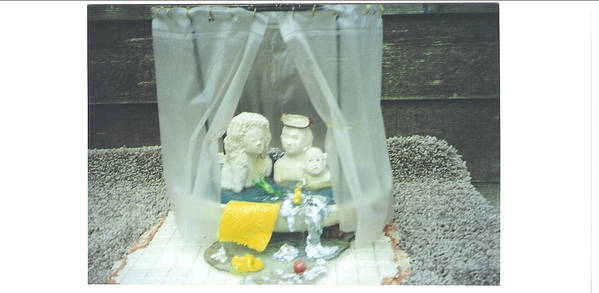 Kids Poster featuring the ceramic art Grandkids In The Tub by Doris Lindsey