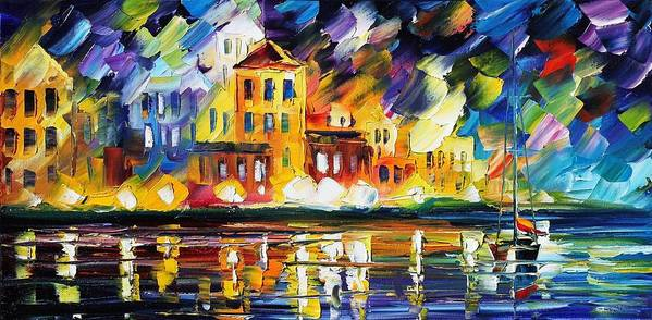 Afremov Poster featuring the painting Harbor's Flames by Leonid Afremov