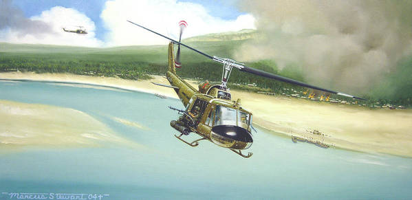 Military Poster featuring the painting Hunter Hueys by Marc Stewart