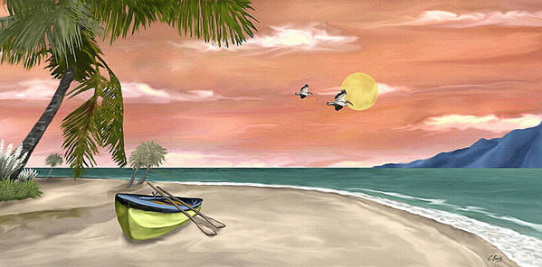 Tropical Island Boat Sunset Palms Seascape Gordon Beck Art Poster featuring the painting Island Boat by Gordon Beck