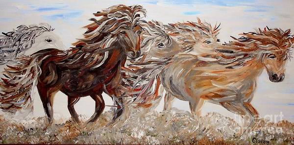Horse Poster featuring the painting Kicking Up Dust by Eloise Schneider