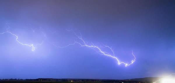 Lightning Poster featuring the photograph Lightning Bolts Coming In For A Landing Panorama by James BO Insogna
