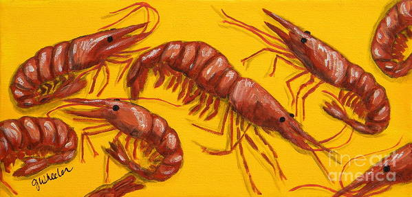 Shrimp Poster featuring the painting Lil Shrimp by JoAnn Wheeler