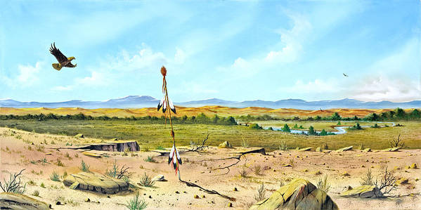 Landscape Poster featuring the painting Little Bighorn by Don Griffiths