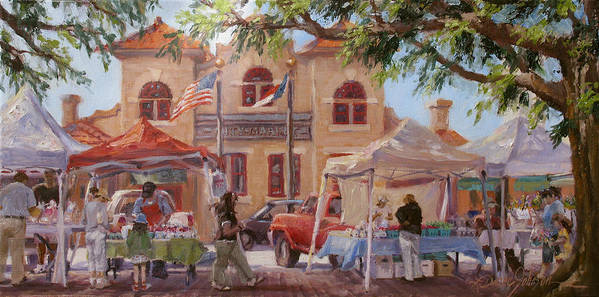 Old City Architecture Poster featuring the painting Market Day by L Diane Johnson
