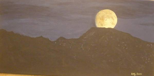 Mountains Poster featuring the painting Moon Rising by Betty-Anne McDonald