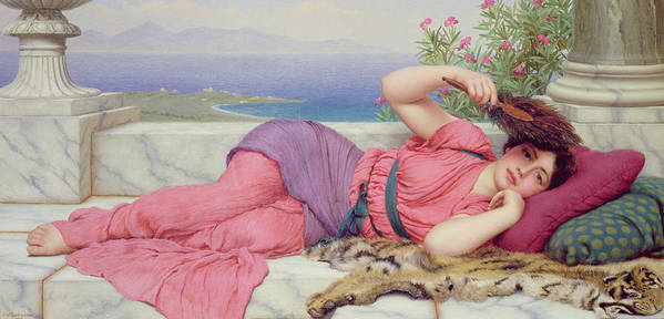 Noon Day Rest Poster featuring the painting Noon Day Rest by John William Godward