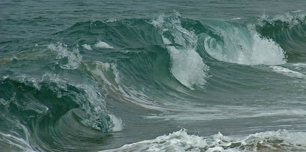 Ocean Poster featuring the mixed media Ocean Waves 2 by Ernie Echols