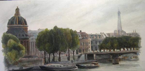 Paris Poster featuring the painting Paris Across The Seine by Victoria Heryet