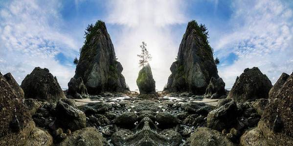 Sea Stacks Point Arches Shi Beach Washington Beautiful Wilderness Outside Pnw Outdoors Pacific Northwest Explore View Views Quest Live Authentic Outbound Reflection Mirror Poster featuring the photograph Point Of The Arches Reflection by Pelo Blanco Photo