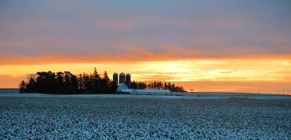Agriculture Poster featuring the photograph Prairie Winter Sunrise by Bonfire Photography