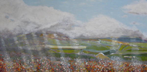 Landscape Light Sun Clouds Rays Meadow Fields Flowers Green Grass Mountains Hills Valley Nature Natural Poster featuring the painting Rays Of Light by Kimberly Boyle
