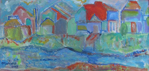 Landscape Poster featuring the painting Residences by Marlene Robbins