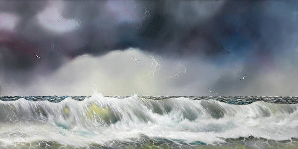 Seascape Poster featuring the painting Rolling Sea by Don Griffiths