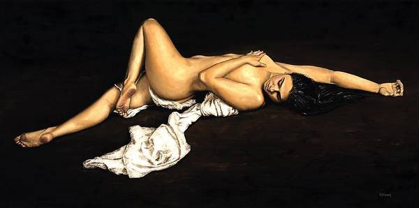 Nude Poster featuring the painting Sacred by Richard Young