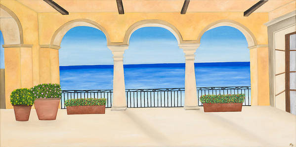 Arches Poster featuring the painting Sea View by Sandra Lorant
