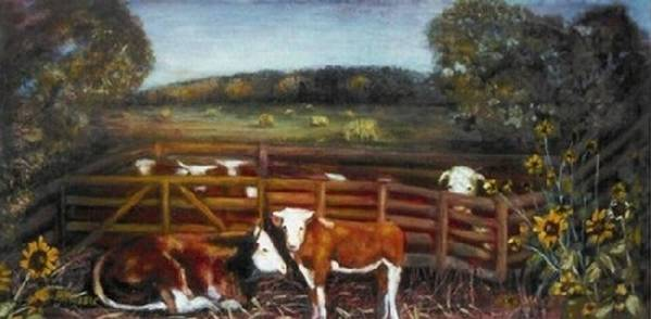 Calf Poster featuring the painting Separation by Helen Musser