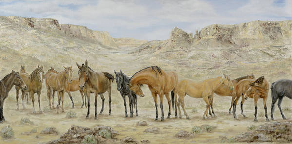 Horse Poster featuring the painting Siesta At Noon by Cathy Cleveland