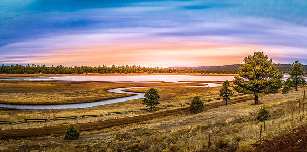 Meadow Poster featuring the photograph Snaking River by Jon Manjeot