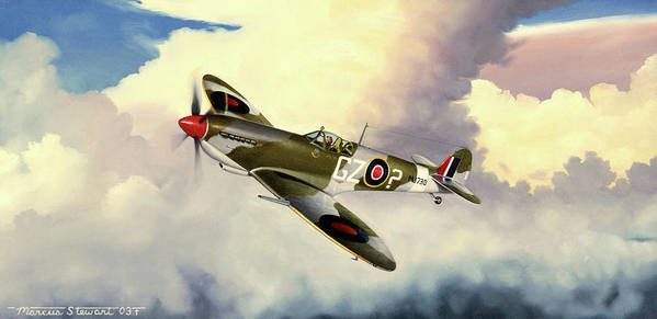 Military Poster featuring the painting Spitfire by Marc Stewart
