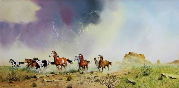 Mustangs Poster featuring the painting Stampede by Don Griffiths