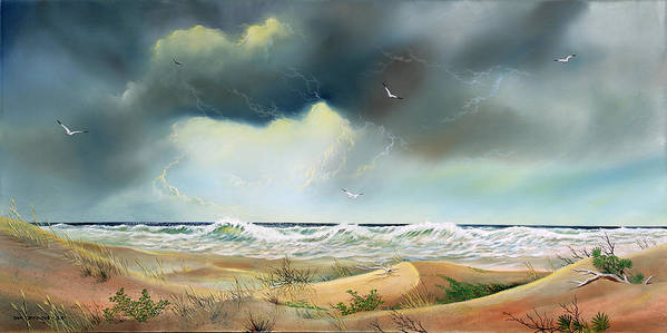 Beach Scene Poster featuring the painting Stormy Coast by Don Griffiths