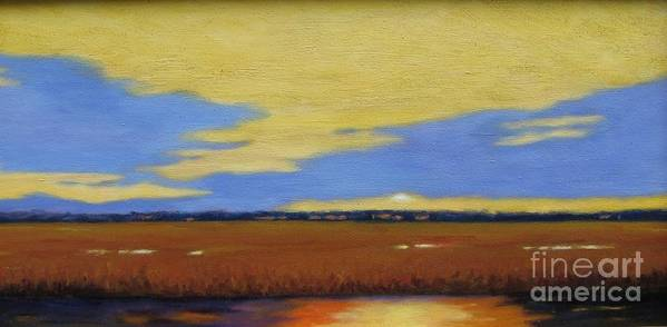 Sunset Poster featuring the painting Sunset On The Marsh by Laura Roberts