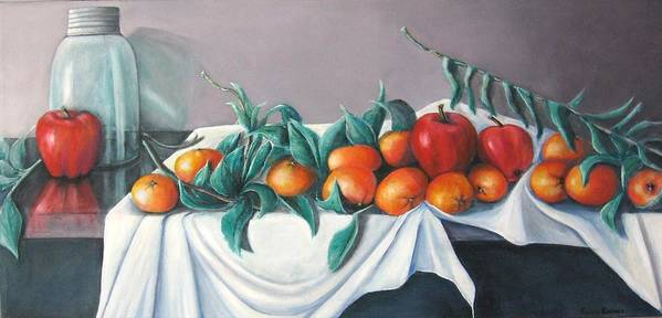 Still Life Poster featuring the painting Tangerines And Apples by Eileen Kasprick