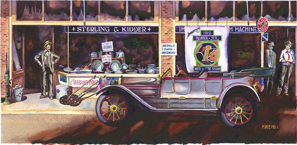 Beaver Six Car Automobile Classic Gresham Tin Lizzy Main Street Hardware Store Dealer Antique Poster featuring the painting The Beaver Six by Mike Hill