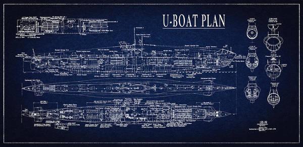 Blueprint Poster featuring the digital art U-boat Submarine Plan by Daniel Hagerman