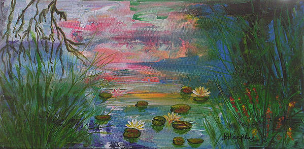 Water Lily Poster featuring the painting Water Lily Pond 2 by Barbara Harper