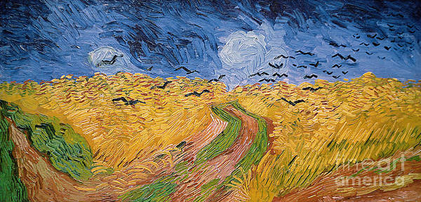 Landscape;post-impressionist; Summer; Wheat; Field; Birds; Threatening; Sky; Cloud; Post-impressionism Poster featuring the painting Wheatfield With Crows by Vincent van Gogh
