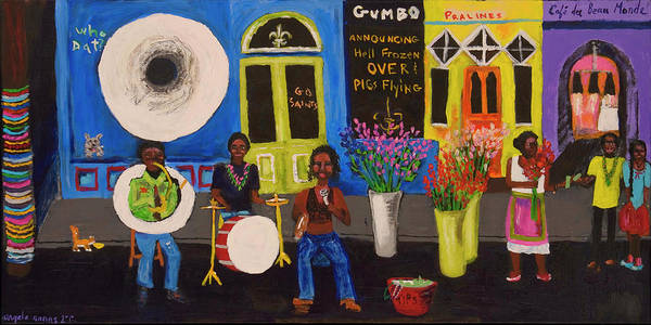 New Orleans Poster featuring the painting When Pigs Flew In Nola by Angela Annas
