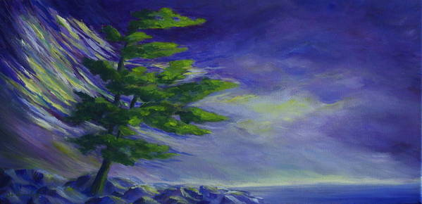 Lake Superior Poster featuring the painting Windy Lake Superior by Joanne Smoley