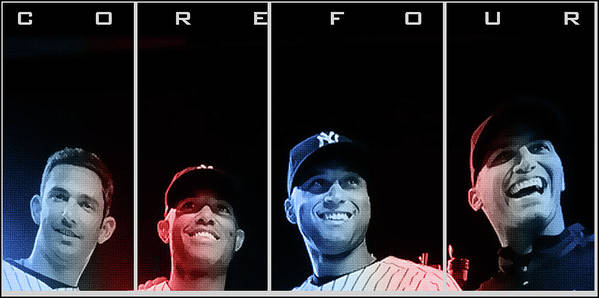 New York Yankees Poster featuring the digital art Yankee Core Four By Gbs by Anibal Diaz