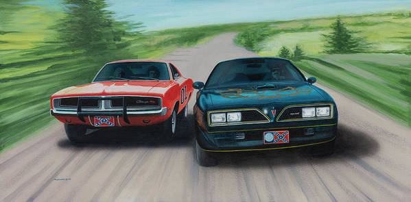Smokey And The Bandit Poster featuring the painting Bandit Vs Lee by Norb Lisinski