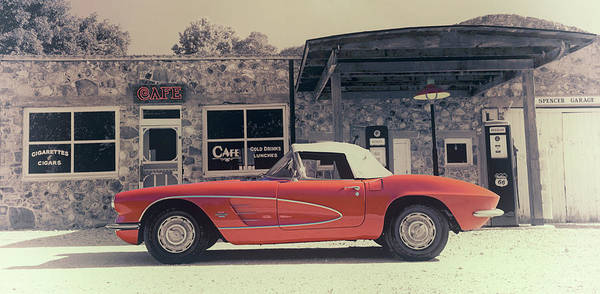 Spencer Poster featuring the photograph Corvette Cafe - C1 - Vintage Film by Jayson Tuntland