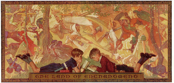 Books Poster featuring the drawing Land Of Enchantment by Norman Rockwell