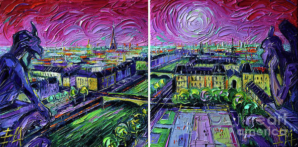 Paris Gargoyle Poster featuring the painting Paris View With Gargoyles - Textural Impressionist Diptych Oil Painting Mona Edulesco  by Mona Edulesco