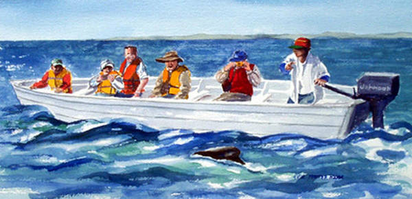 People Poster featuring the print The Whale Watchers by Anne Trotter Hodge