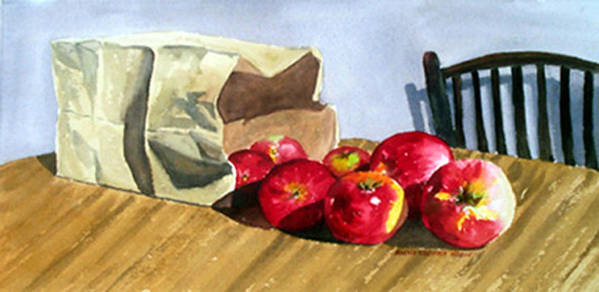 Still Life Poster featuring the print Bag With Apples by Anne Trotter Hodge