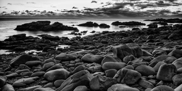 2:4 Ratio Poster featuring the photograph Boulders At Sunrise Marginal Way by Jeff Sinon