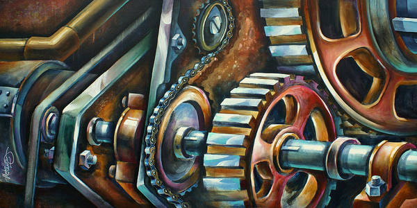 Mechanical Poster featuring the painting ' In Harmony ' by Michael Lang