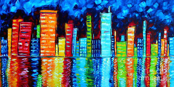 Abstract Poster featuring the painting Abstract Art Landscape City Cityscape Textured Painting City Nights II By Madart by Megan Duncanson