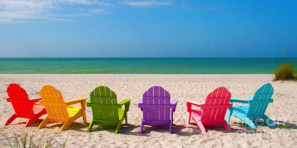 Beach Chairs Poster featuring the photograph Adirondack Beach Chairs For A Summer Vacation In The Shell Sand by ELITE IMAGE photography By Chad McDermott