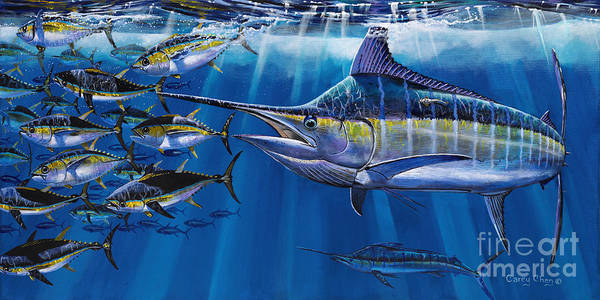 Marlin Poster featuring the painting Agressor Off00140 by Carey Chen