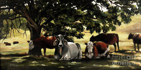 Cows In Pasture Poster featuring the painting Brahma's Mamas by Suzanne Schaefer