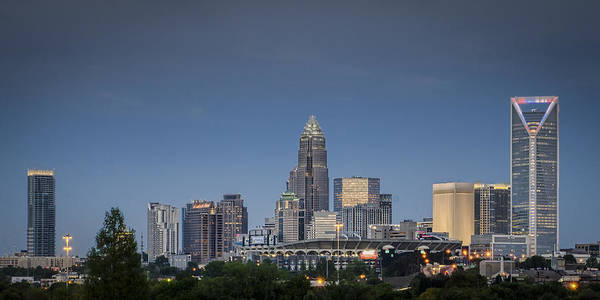Charlotte Poster featuring the photograph Charlotte Skyline - Clear Evening by Brian Young