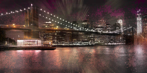 New York Poster featuring the photograph City-art Brooklyn Bridge by Melanie Viola